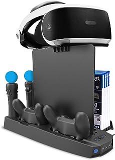 Soporte Vertical de Carga PSVR, Stand Vertical PS4 Pro /PS4 Slim/ PS4, [Todo en 1] Accesorio PS4 PlayStation VR, Refrigera...