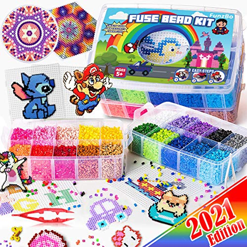 FunzBo Fuse Beads for Kids Craft Art - 106 Patterns Fusebead Melty Fusion...