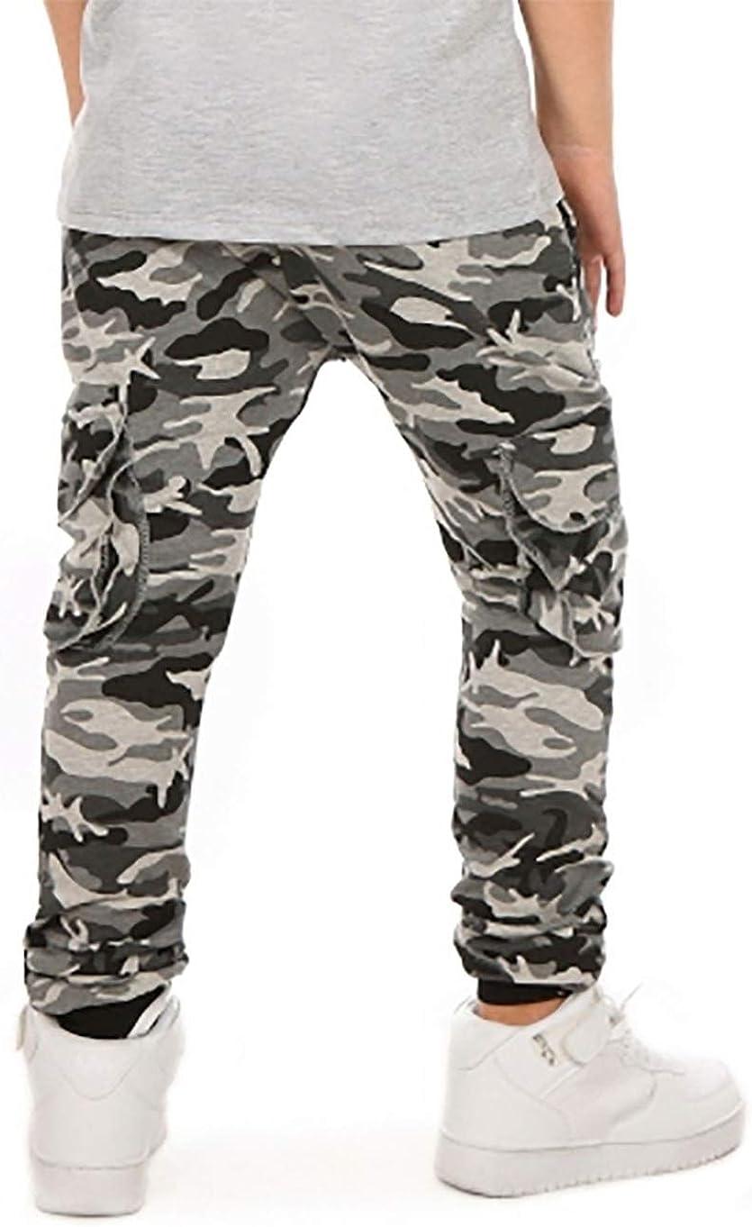 Solvera Pantalones de jogging para ni/ño con cintura el/ástica y bolsillos militares.