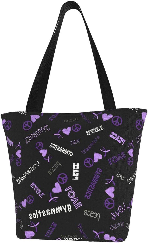 Purple Love And Peace Cute Themed Printed Women Canvas Handbag Zipper Shoulder Bag Work Booksbag Tote Purse Leisure Hobo Bag For Shopping