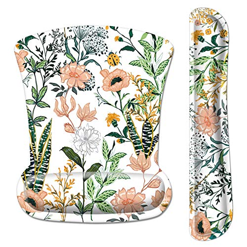 Ergonomic Mouse Pad with Wrist Support and Keyboard Wrist Rest Pad Set, iDonzon Cute Wrist Pad with Non-Slip Rubber Base and Raised Memory Foam, Easy Typing & Pain Relief, Floral