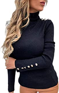 Womens Casual Solid Stretch Turtleneck Buttons Long Sleeve Basic Knit Jumper Sweater