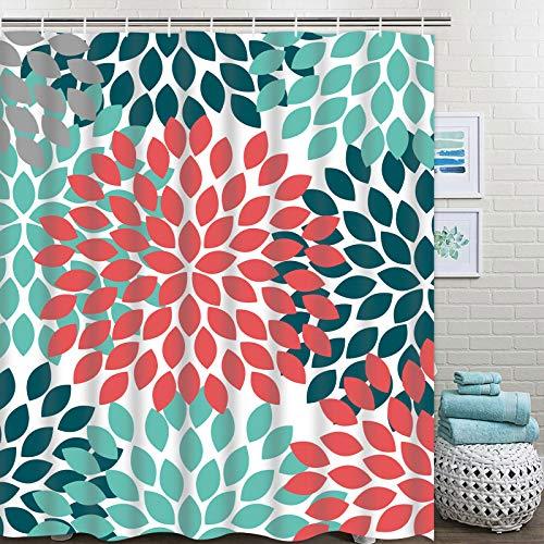 Pknoclan Dahlia Pinnata Floral Shower Curtain, Turquoise Red Teal Grey Flower Bathroom Curtain, Waterproof Fabric Shower Curtain for Bathroom Decoration