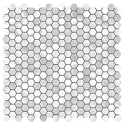 Benice Hexágono Pegatinas De Azulejos De Metal Para Cocina, Autoadhesivas Mosaicos De Pared, Azulejos De BañO, Pelar Y Pegar, 26,5x26,5cm, 5piezas Plata