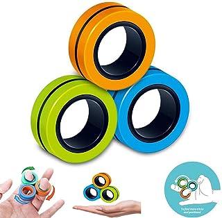 Fingears Magnetic Rings Fidget Spinner Toy   Anxiety Relief Magnetic Spinner Ring Magnetic Rings Fidget Toys for Adults Ki...