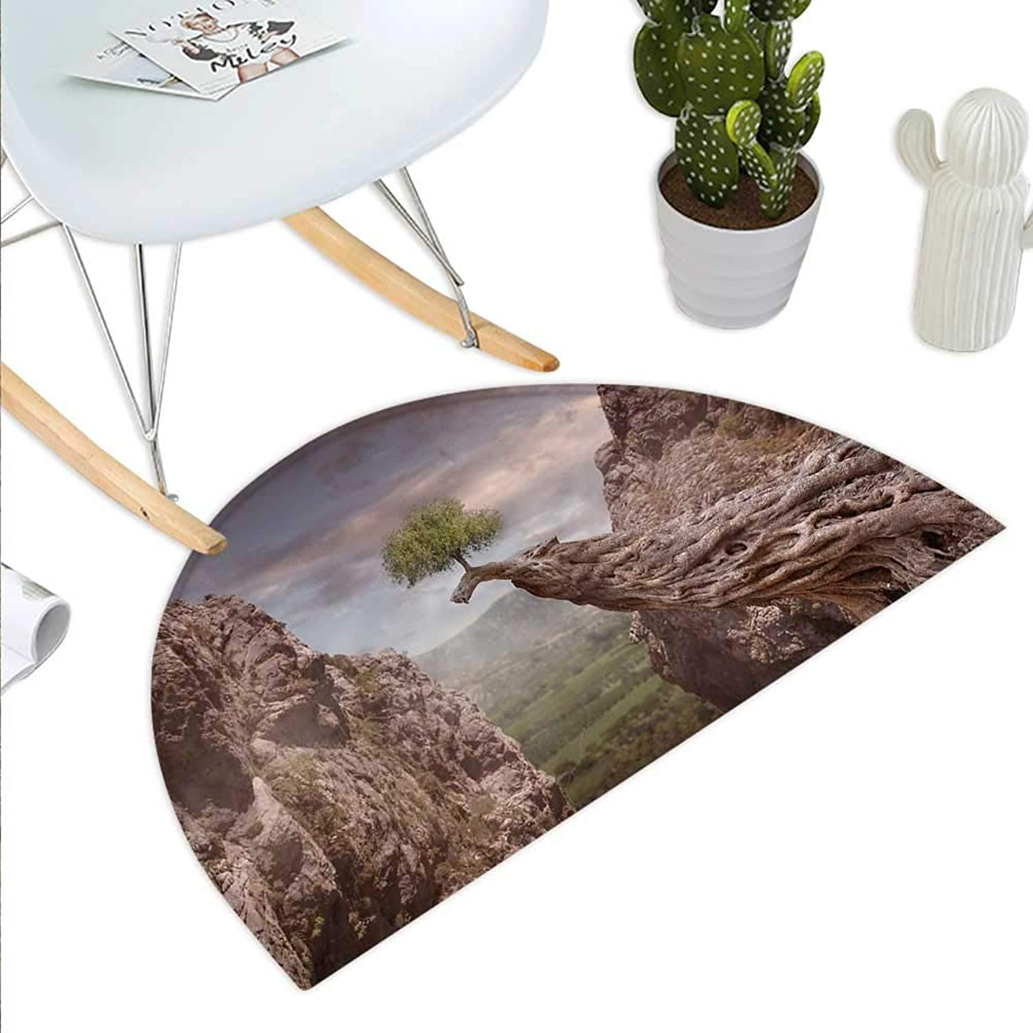Landscape Semicircle Doormat Fantasy Theme Mystic Mountains with a Tree and Cloudy Sky Fairytale Artwork Halfmoon doormats H 43.3  xD 64.9  Umber Green bluee