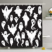 Ahawoso Shower Curtain Set with Hooks 60x72 Character Ghosts for Costume Ghostly Monster Holiday Boo Scary Ghoul Holidays Devil Bizarre Symbol Waterproof Polyester Fabric Bath Decor for Bathroom