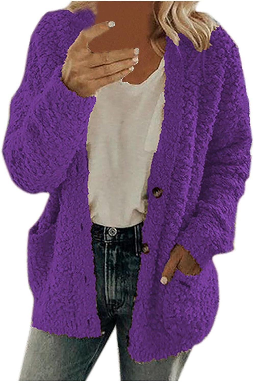 Womens Sherpa Fleece Overcoat Thick Plus Size Plush Jacket Coat Windbreaker Pockets Outwear Button Thicken Sweatshirt