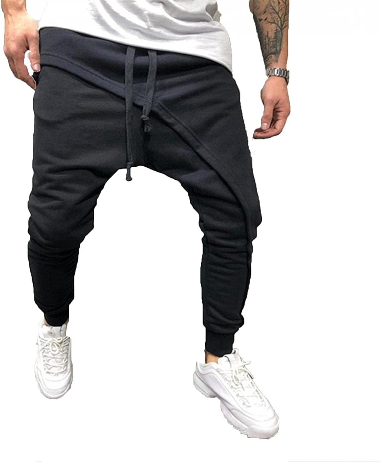 Beshion Sweatpants for Men Jogger Slim Hip Hop Pants Oversized Casual Sports Pull Rope Pants for Athletic Running Sport