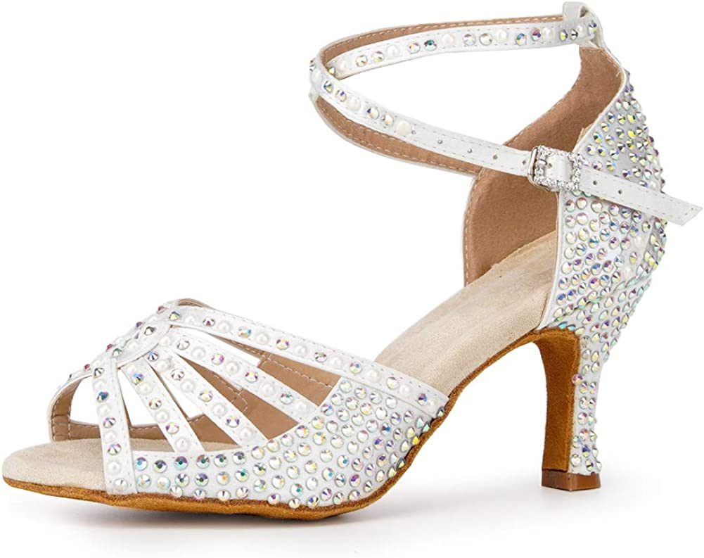 HIPPOSEUS Women's Latin Dance Shoes Rhinestones Party Ballroom Salsa Dance Performance Shoes with Suede Sole,AF435