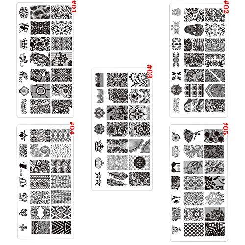 AIUIN 5 stuks nagelstempelsjablonen Nail Art Plates Stempelplaten Nagel Stempelen sjabloon Beeldstempel (in totaal 105 verschillende patronen) style 1