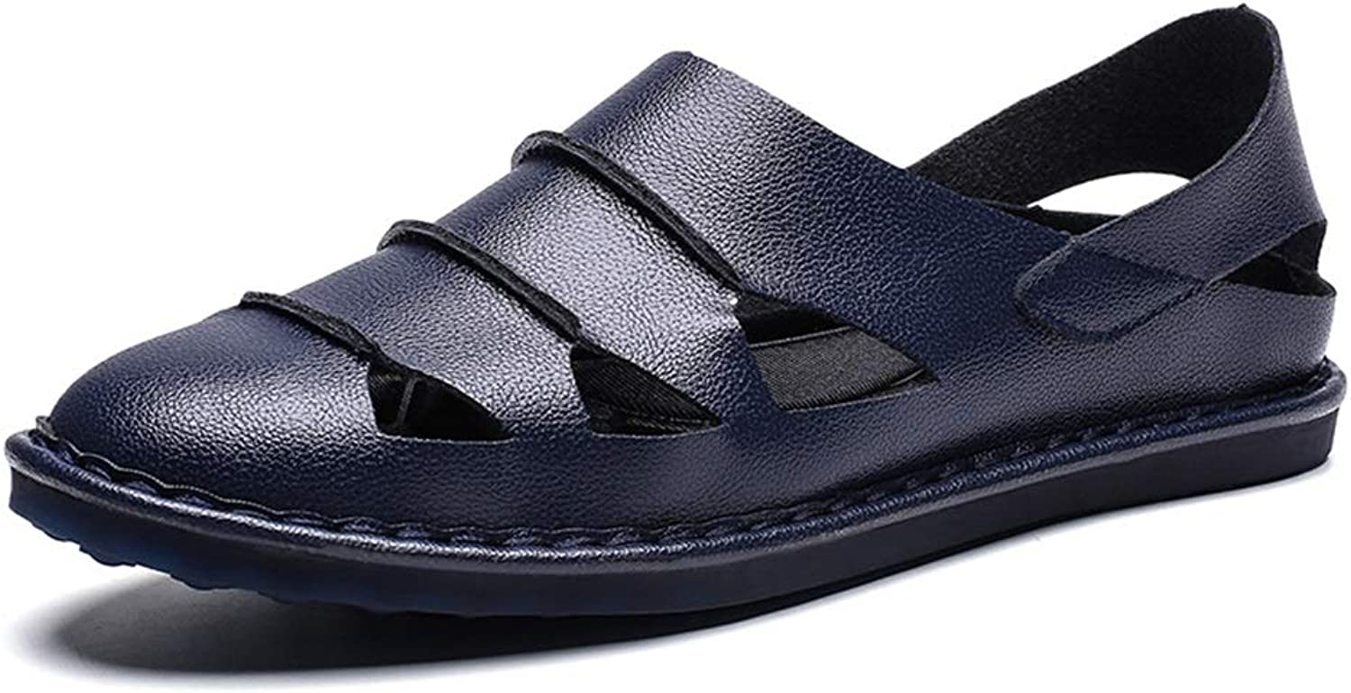 JIALUN-shoes Beach Sandals for Men Pierced Breathable shoes Slip on Style Microfiber Leather Strong Antislip Lasting Outsoles