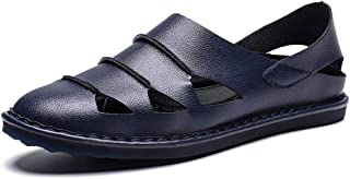 Xujw-shoes, Sandals Mens Beach T-Strap Sandals Ankle Strap Slippers for Men Genuine Leather Antislip Beach Water Shoes Durable