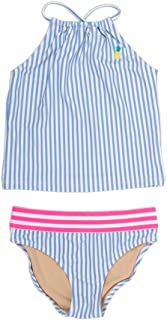 Rivstar Girls Little Tankini Set W//Neck Scallop Trim in Springtime Stripe