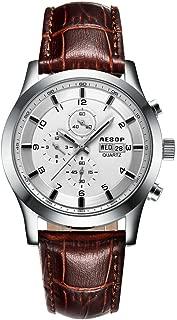 Aesop Sport Men Top Brand Luxury Waterproof Day Date Leather Japanese Quartz Wrist Watch Silver White