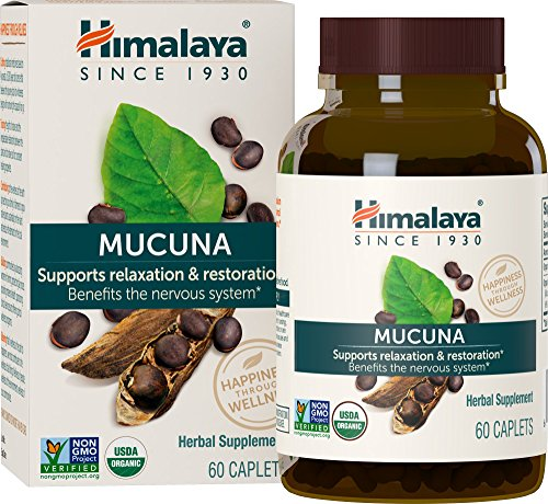 Himalaya Organic Mucuna Pruriens / Kapikachhu, Equivalent to 3,706 of Mucuna Pruriens Powder for Calm & Relaxation 60 Caplets (1PACK)
