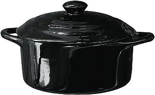 """5"""" Round Stoneware Mini Personal Covered Casserole Baker (Black)"""