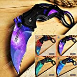 KCCEDGE BEST CUTLERY SOURCE Pocket Knife Camping Accessories Survival Kit Razor Sharp 7 Inch Karambit Tactical Knife Hunting Knife Camping Gear 78609 (Purple)