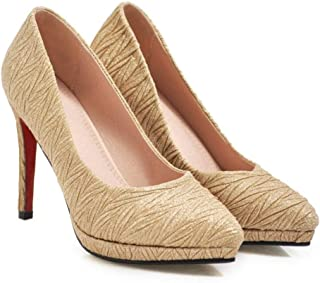 Solid Color Textured High Heels For Banquet Wedding Dress Daily (Color : Golden, Size : 35)