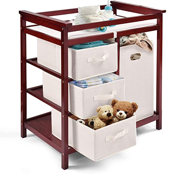 Costzon Baby Changing Table Basket Hamper Infant Diaper Nursery Station Wine