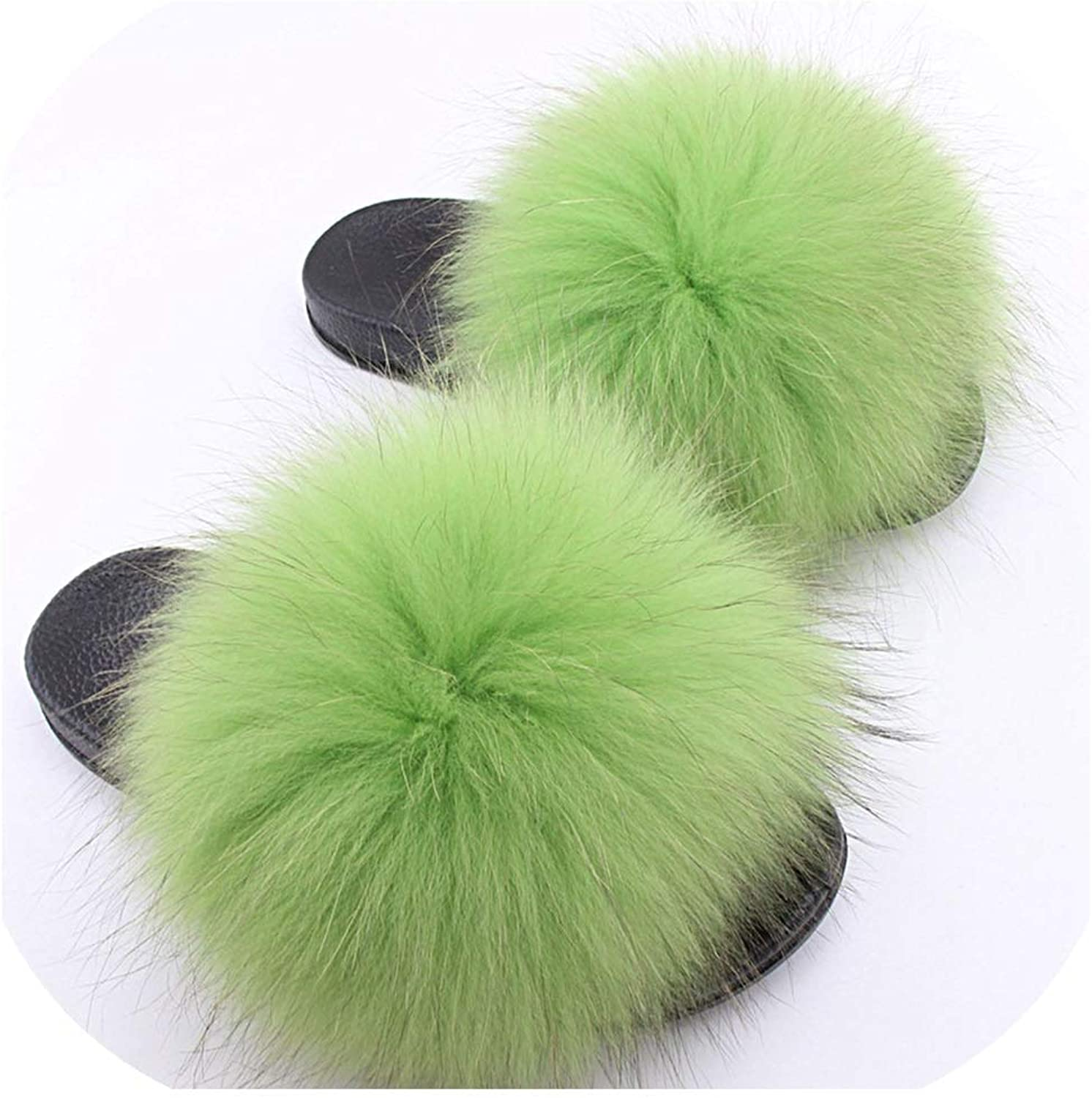 Real Slippers Women Sliders Casual Hair Flat Fluffy Home Big Size 45 Furry Flip Fl,