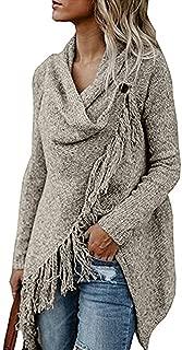 Opinionated Women's Tassel Hem Sweater Long Cardigan Knitwer Pullover Poncho Coat