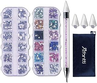 Afantti Jewel Picker Setter - Wax Pencil Rhinestone Applicator Application Pickup Tool Kit - for Pick Up Nail Gem Crystal Jewelry | Double Ended | 2 Box Flatback Rhinestones