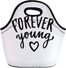 Semtomn Lunch Tote Bag Forever Young Lettering Summer Brush Modern Ink for Save Reusable Neoprene Insulated Thermal Outdoor Picnic Lunchbox for Men Women