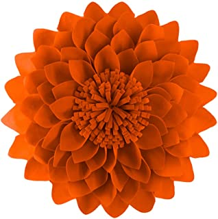 JWH 3D Flower Accent Pillow Handmade Cushion Decorative Pillowcase with Pillow Insert Cotton Sham Wool Flower Home Bed Living Room Decor Girl Gift 14 Inch Orange Red