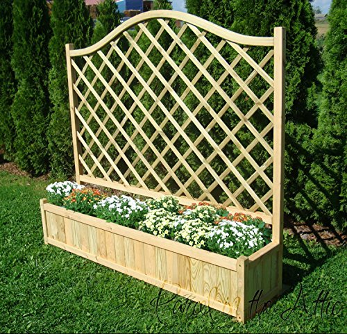 Wooden Garden Double Flower Planter With Trellis for Climbing Plant Support (Double Planter - 180cm)