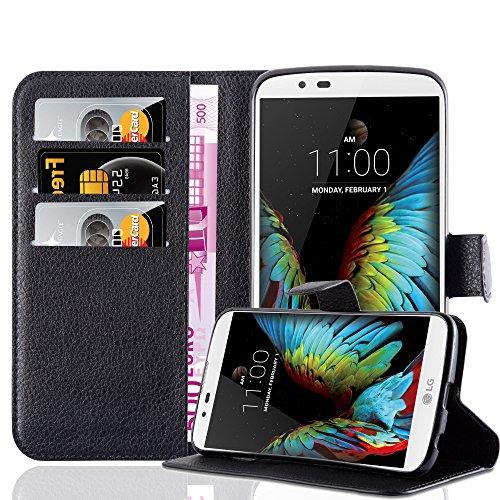 Preisvergleich Produktbild Cadorabo Hülle für LG K10 / M2 in Phantom SCHWARZ - Handyhülle mit Magnetverschluss,  Standfunktion und Kartenfach - Case Cover Schutzhülle Etui Tasche Book Klapp Style