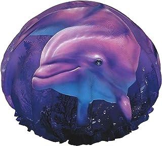 Niebieski ocean delfin wodoodporna czapka prysznicowa z elastycznym obszyciem odwracalna konstrukcja do prysznica czapka d...