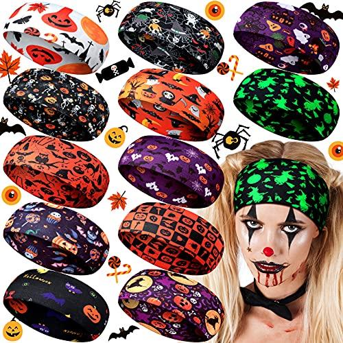 12 Pieces Halloween Headbands Halloween Pumpkin Head Wraps Skeleton Cat Witch Spider Web Hair Accessories Stretchy…