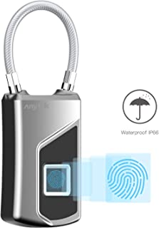Fingerprint Biometric Padlock Anytek Biometric Digital Lock L1 Travel Lock Stainless Steel Aluminum IP66 Waterproof USB Charge Security Lock for Gym Locker Luggage Suitcase Cabinet
