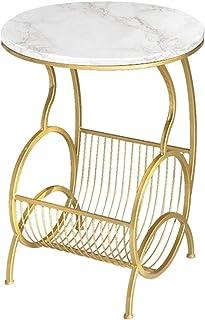 Lcxliga Coffee Tables Living Room Table Furniture 45x60cm Marble 2 Shelf Side End Lamp Table Modern Magazine Rack Bent Met...
