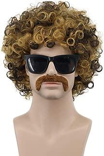 VGbeaty Mens Short Wave Brown Moustache Wig California Disco Rocker Halloween Cosplay Anime Costume Wig