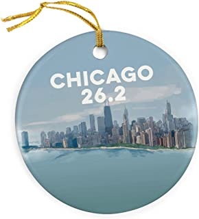 Gone For a Run Chicago Sketch Christmas Ornament | Running Porcelain Ornaments | 26.2