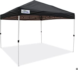 Goutime Waterproof 10x10 Canopy, Portable Pop Up Canopy Tent with Wheeled Roller Bag, Bonus 4 Stakes and Ropes (10'x10', Black)