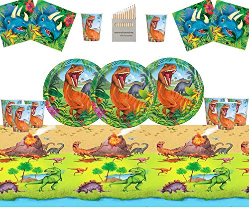 Dinosaurier Party Supplies Set Dinosaurier Geburtstag Party Dekoration Kit für 16- Einweg Dino Teller Tasse Servietten Tisch Decken