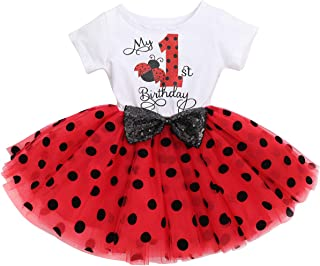 Baby Girls Cake Smash Birthday Mouse Polka Dots Wild One Sequin Tutu Princess Dress Fancy Costume for Photo Shoot