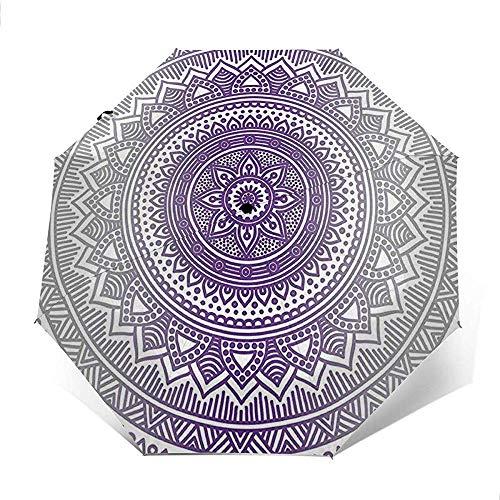 Zen Boho Ombre Mandala Design Print Reiseschirm Sonnenschirm-Lightweight Windproof Sunscreen Umbrella-Auto Öffnen und...