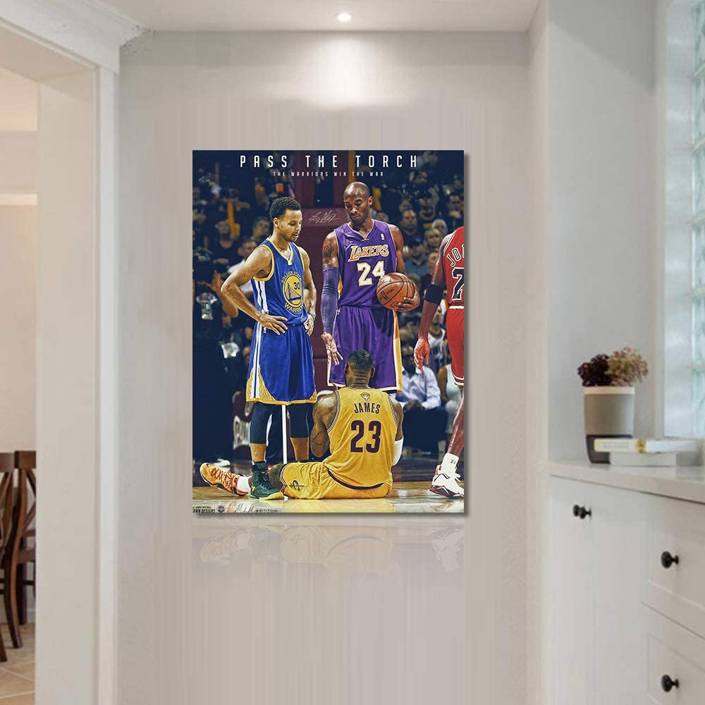 NBA Legends Kobe Bryant, Lebron James & Stephen Curry Poster Wall Art Decor Framed Print 1 Pcs All Basketball Star Fan Gift for Guys & Girls Bedroom Decoration Ready to Hang