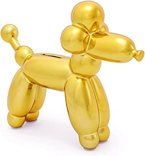 Made By Humans Balloon French Poodle Money Bank - Unique Animal-Shaped Ceramic Piggy Bank for Newborn Baby, Young Children, Adults, Gold