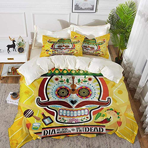 Day Of The Dead Decor,Mexican Sugar Skull with Tacos and Chili Pepper November 2nd Colo,Hypoallergenic Microfibre Duvet Cover Set 260 x 220cm with 2 Pillowcase 50 X 80cm