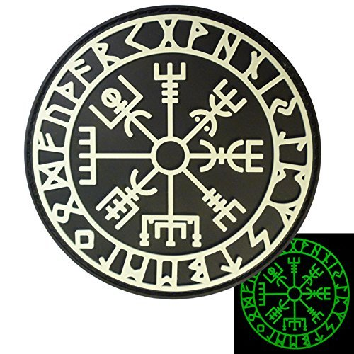 2AFTER1 Glow Dark Vegvisir Viking Compass Norse Rune Morale Tactical PVC Rubber 3D Fastener Patch