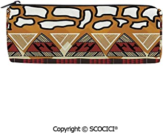 SCOCICI Cylinder Portable Stylish Pen Pencil Bag Stationery Pouch Tribal Ethnic African Hunting Spear and Arrow Prehistoric Tribe Life Theme Pencil Bag Small Cosmetic Pouch Bag,8x3x3 inch