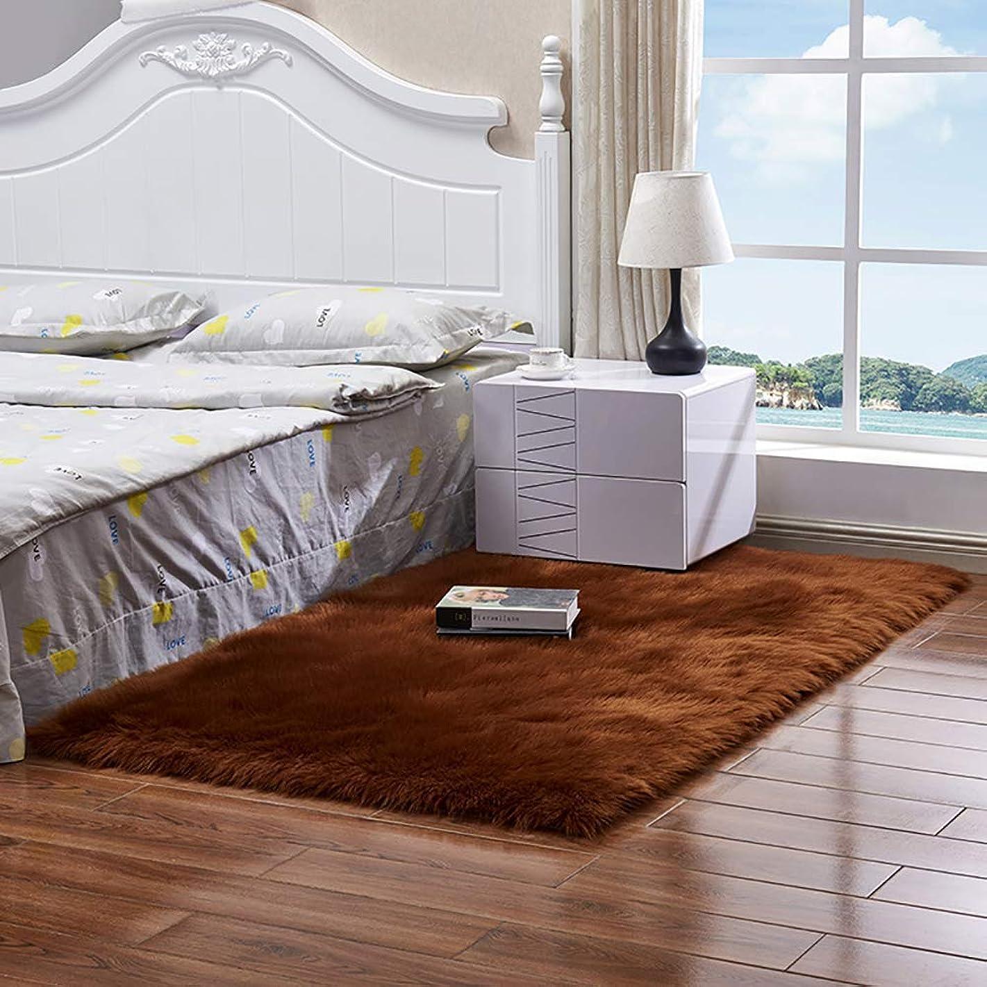 ダーリン言い直す見える人工ウールラグ、スーパーソフトふわっと居間の寝室の子供部屋の食堂のための滑り止めおよび耐久のカーペット-ブラウン-60×90センチメートル(24×35インチ)