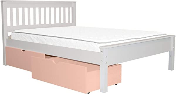 Bedz King Mission Style Full Bed With 2 Pink Under Bed Drawers White