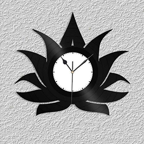 Reloj de pared de vinilo con flor de loto para amigos, decoración de la habitación del hogar, diseño vintage, oficina, bar, habitación del hogar
