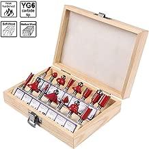 flintronic® Fräser-Set, Fräsen Werkzeug Set 15-tlg Holzkoffer Geschmiedeter Werkzeugstahl Oberfräser Holzschneider Holzbearbeitung